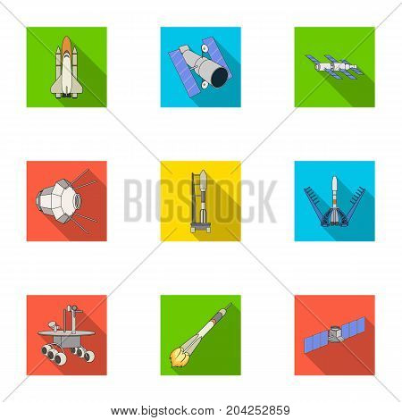 Space ship, Lunokhod, spacesuit and other equipment. Space technology set collection icons in flat style vector symbol stock illustration .