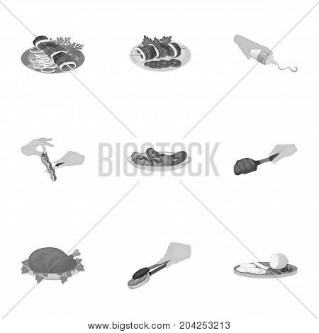 Fried chicken, cooking chop, slicing vegetables, shish kebab and other elements of cooking. Food and Cooking set collection icons in monochrome style vector symbol stock illustration .