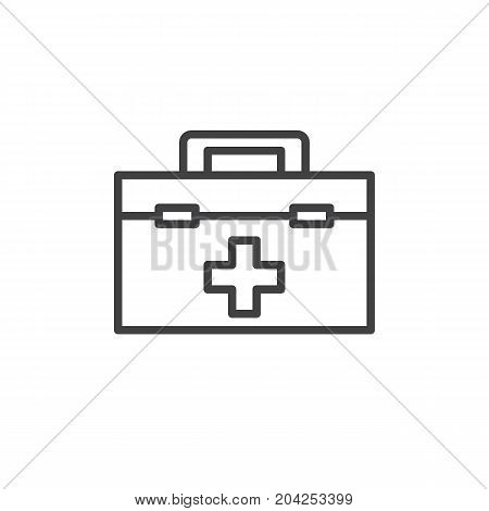 Medical bag line icon, outline vector sign, linear style pictogram isolated on white. First aid kit symbol, logo illustration. Editable stroke