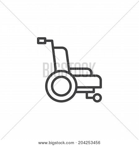 Wheelchair line icon, outline vector sign, linear style pictogram isolated on white. Symbol, logo illustration. Editable stroke