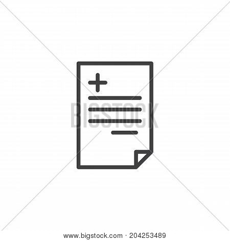 Medical prescription line icon, outline vector sign, linear style pictogram isolated on white. Symbol, logo illustration. Editable stroke