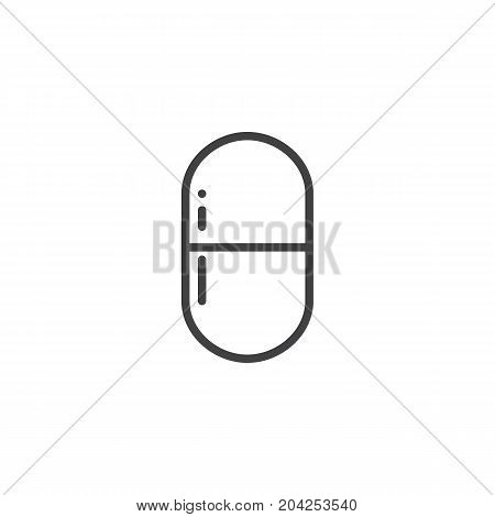 Pill line icon, outline vector sign, linear style pictogram isolated on white. Symbol, logo illustration. Editable stroke