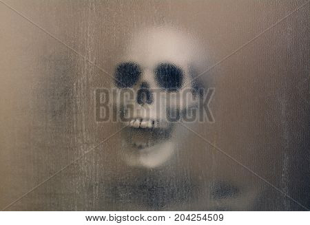 Macabre laughing skull and skeleton shoulders with spooky background