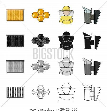 Frame with honeycomb, apiary, honeycomb wax, beekeeper in protective suit, smoke, Apiary set collection icons in cartoon black monochrome outline style vector symbol stock illustration .