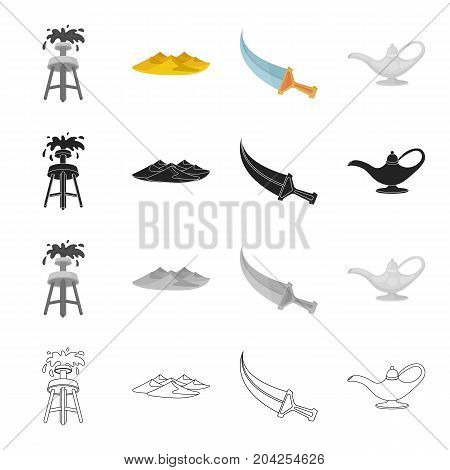 An oil rig, sand dunes, an Arab dagger, a oil lamp. United Arab Emirates set collection icons in cartoon black monochrome outline style vector symbol stock illustration .