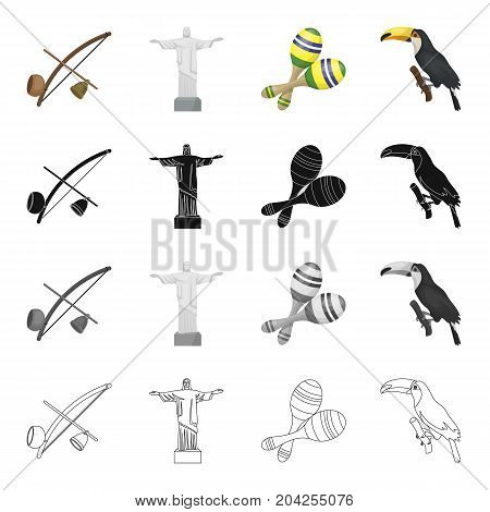 Berimbau, the Brazilian instrument, maracas, Statue of Christ the Redeemer, the bird toucan. Brazil set collection icons in cartoon black monochrome outline style vector symbol stock illustration .