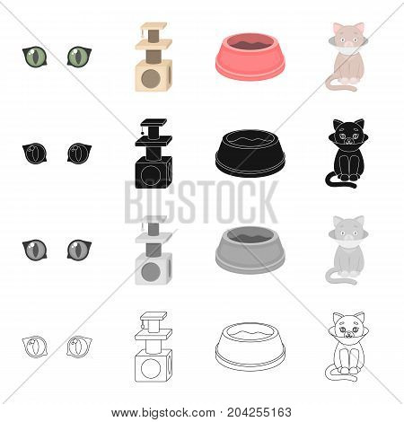 Cat's eyes, a scratching a bowl for food, a sick kitten.Cat set collection icons in cartoon black monochrome outline style vector symbol stock illustration .