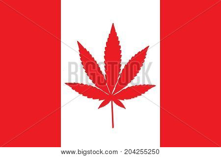 Red and white Canadian flag with a pot leaf in the middle