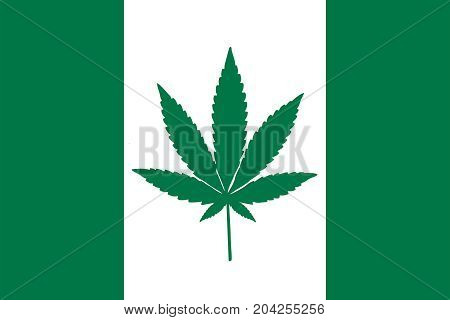 Green and white Canadian flag with a pot leaf in the middle