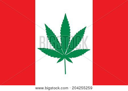 Red and white Canadian flag with a green pot leaf in the middle