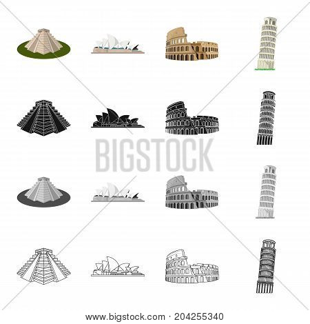 Pyramid in Mexico, the theater in Sydney, the Colosseum in Rome, the Leaning Tower of Pisa. Architecture of different countries set collection icons in cartoon black monochrome outline style vector symbol stock illustration .