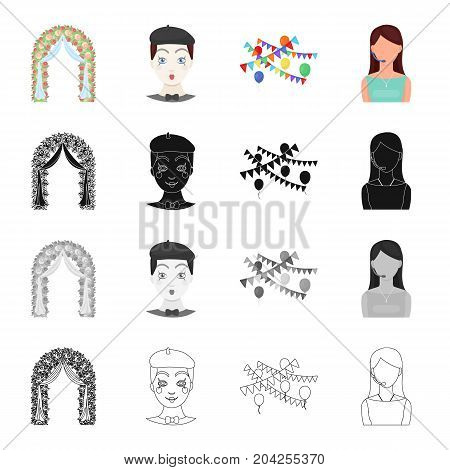 Arch for the ceremony, the host of the event, a comic man, the decoration of the celebration.Event Service set collection icons in cartoon black monochrome outline style vector symbol stock illustration .