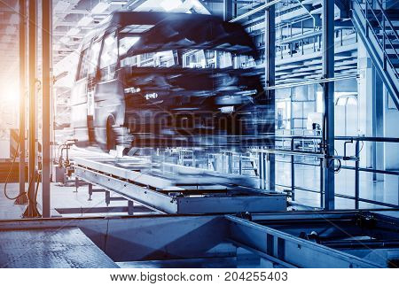 Modern automobile production line automated production equipment.