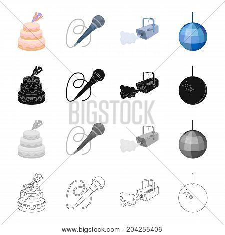 Cake decoration, a microphone for conducting an event, a smoke plant, a glistening ball.Event Service set collection icons in cartoon black monochrome outline style vector symbol stock illustration .