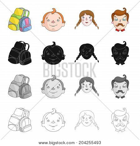 Backpack for rest, boy's faces, girls and men. Family holiday set collection icons in cartoon black monochrome outline style vector symbol stock illustration .