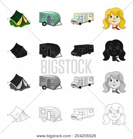 A tent for rest, a trailer, a trailer, a woman's face. Family holiday set collection icons in cartoon black monochrome outline style vector symbol stock illustration .