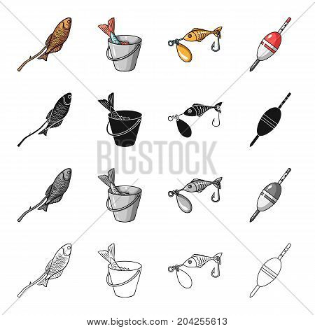 Fish on skewers, catch in a bucket, bait fishing lure, float. Fishing set collection icons in cartoon black monochrome outline style vector symbol stock illustration .