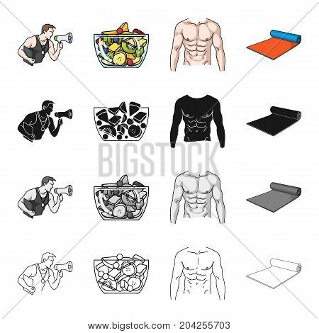 Fitness coach, fruit salad, male torso, gymnastic mat. Fitness set collection icons in cartoon black monochrome outline style vector symbol stock illustration .