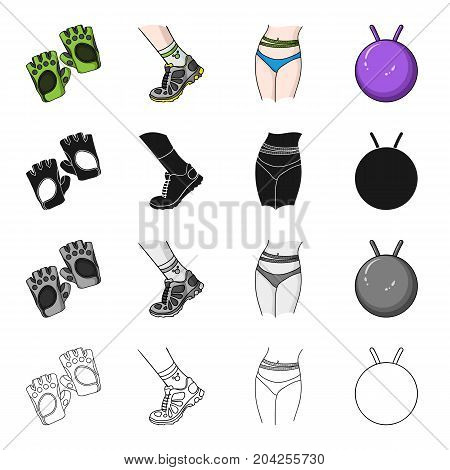 Protective gloves, sneakers on the leg, waist measurement, gymnastic ball. Fitness set collection icons in cartoon black monochrome outline style vector symbol stock illustration .