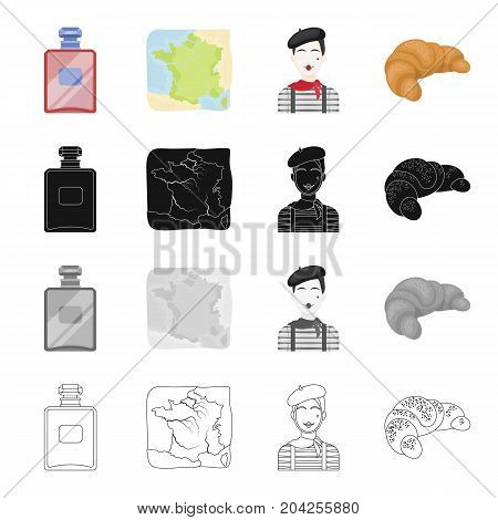 French perfume, the territory on the map, the image of the Frenchman, the croissant.France set collection icons in cartoon black monochrome outline style vector symbol stock illustration .