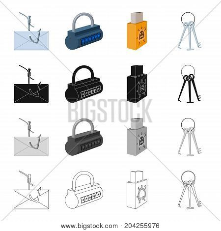 Mail on the hook, the lock with the code, the infected flash drive, the master key for breaking. Hacker and hacking set collection icons in cartoon black monochrome outline style vector symbol stock illustration .