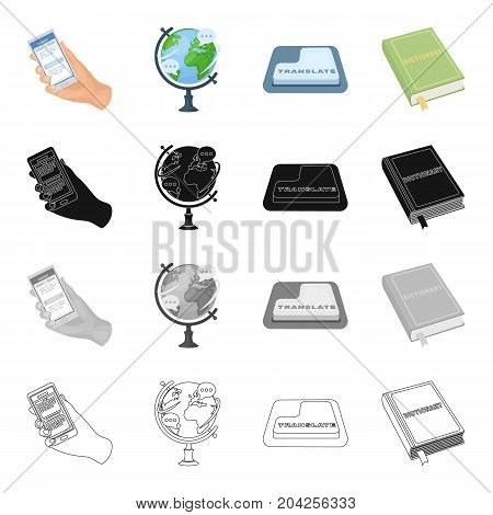Phone in hand, globe, translation button, dictionary. Interpreter set collection icons in cartoon black monochrome outline style vector symbol stock illustration .