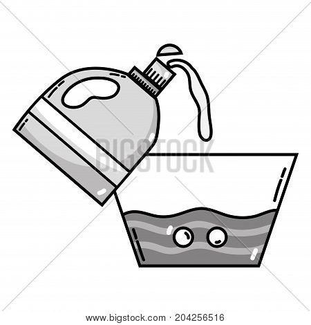 grayscale water pail design with softener bottle plashing vector illustration