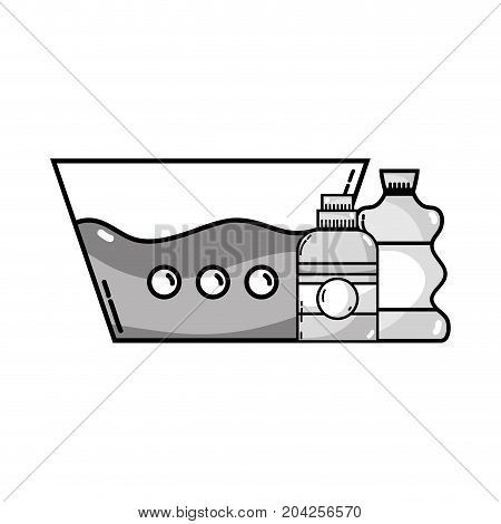 grayscale water pail with detergent liquid and cleach bottle vector illustration