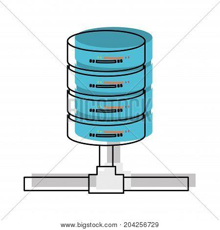 network server storage icon in watercolor vector illustration