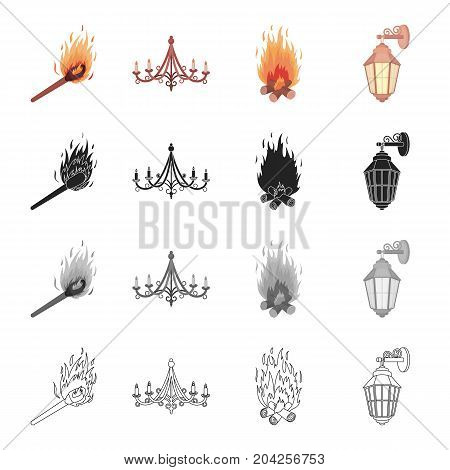 Burning match, chandelier, light from the fire, street lamp. Light source set collection icons in cartoon black monochrome outline style vector symbol stock illustration .