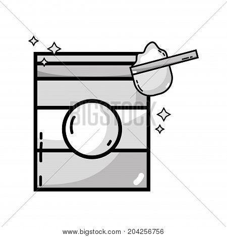 grayscale nice detergent in box to clean clothes vector illustration