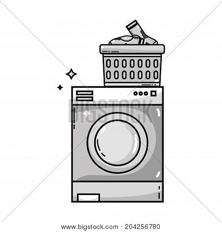 grayscale electronic washing machine and basket with dirty socks vector illustration