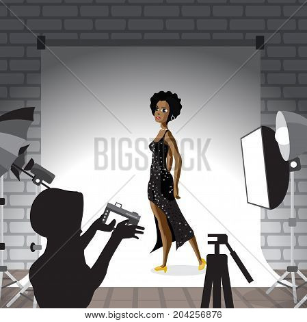 Young afro woman posing in photo studio on white background. Vector flat cartoon illustration