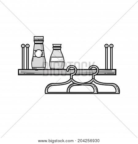 grayscale shelf with softener and detergent liquid bottle vector illustration
