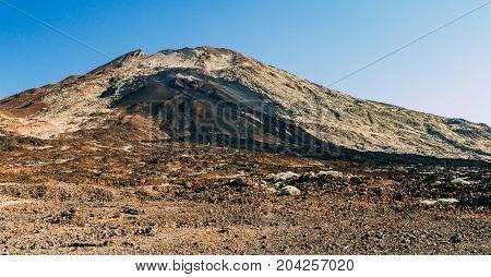 Lunar landscape of volcano Pico Viejo Tenerife Canary islands Spain
