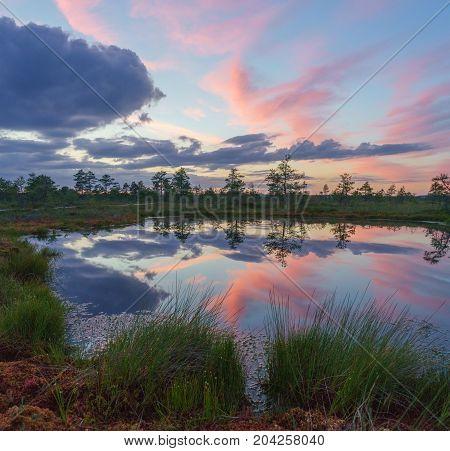 Amazing sunset clouds over Suru Suursoo bog reflection on water Harju county Estonia