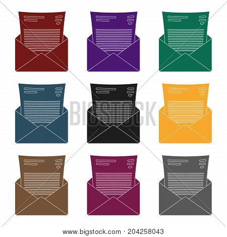 The envelope with the letter inside.A letter for the detective.Detective single icon in blake style vector symbol stock web illustration.