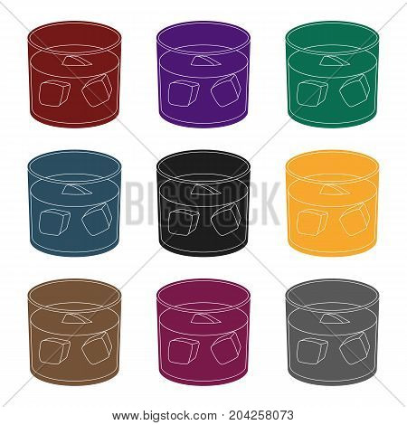 Glass glass of whiskey with ice. Alcoholic beverage of the detective.Detective single icon in blake style vector symbol stock web illustration.