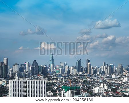 BANGKOK THAILAND - June 2, 2017: Bangkok skyscraper. Cityscape view of Bangkok modern office business building, Bangkok is capital city of Thailand