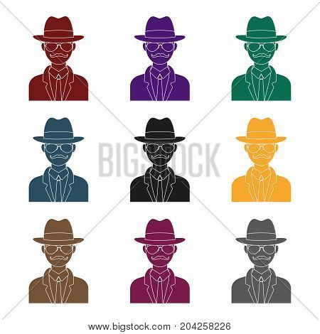 Man in hat suit raincoat and glasses. The detective undercover.Detective single icon in blake style vector symbol stock web illustration.