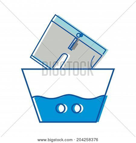 clean shorts soaking in pail with water vector illustration