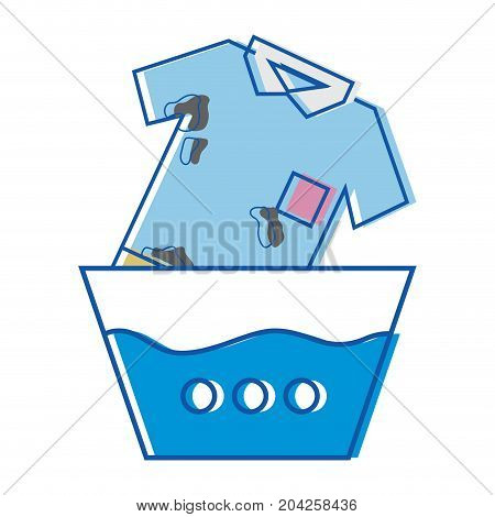 clean t-shirt soaking in pail with water vector illustration