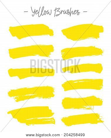 Vector brushes. Set of yellow ink on white background. Elements for design. Abstraction.