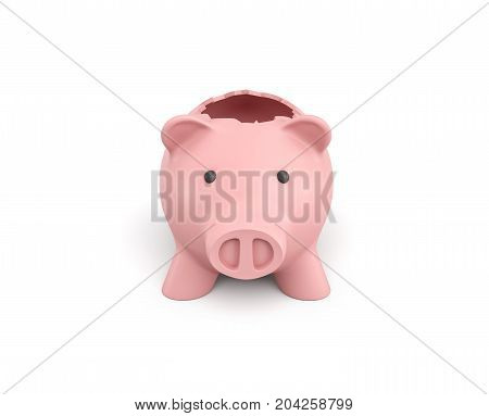 3d rendering of a pink ceramic piggy bank with a broken top on white background. Using your savings. Spending money. Open the coffers.
