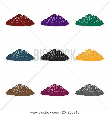 Green mountains.Mountain with snow.Different mountains single icon in black style vector symbol stock web illustration.