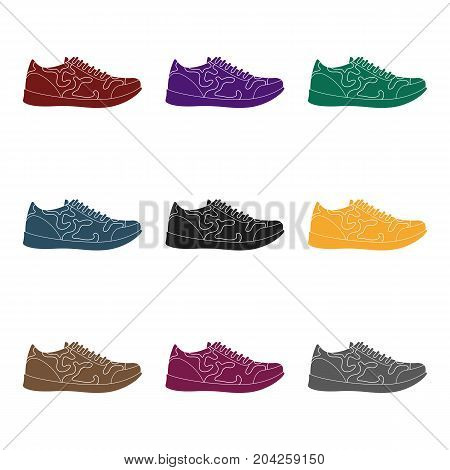 Rag camouflage sneakers for everyday wear.Different shoes single icon in black style vector symbol stock web illustration.