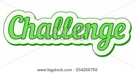challenge sticker green grunge, vector pop art challenge banner