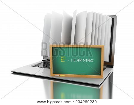3d illustration. Laptop computer with book pages and