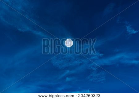 Night Sky With Bright Full Moon And Clouds, Serenity Nature Background.