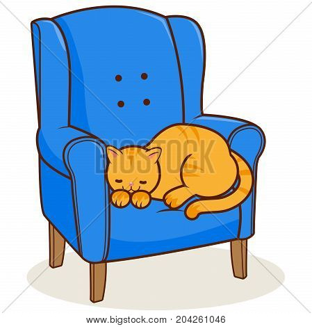 A cat sitting in an armchair. Vector illustration